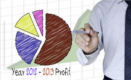 Businessman draw colorful graph for year 2012-2013. Illustration of Businessman draw colorful graph for year 2012-2013 Stock Photos