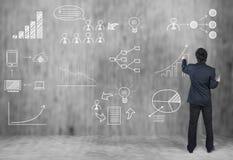 Businessman draw icon, business strategy Royalty Free Stock Photos
