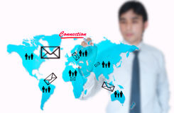 Businessman draw on worldmap Stock Image