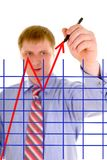 Businessman is drawing a arrow Stock Images