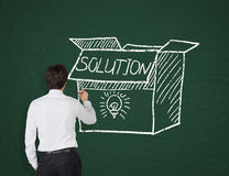 Businessman drawing box with solution Royalty Free Stock Photos