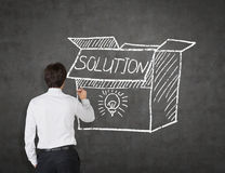Businessman drawing box with solution Stock Image
