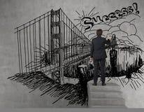 Businessman drawing bridge Stock Photos
