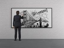 Businessman drawing bridge Royalty Free Stock Photography