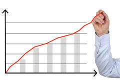 Businessman drawing a business analysis, success growth chart Royalty Free Stock Image