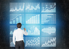 Businessman drawing business charts Stock Photography