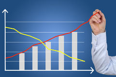 Businessman drawing a business cost success growth chart Stock Photo