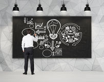 Businessman drawing business plan Royalty Free Stock Images