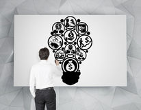 Businessman drawing business strategy Royalty Free Stock Photography