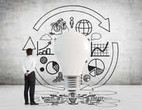 Businessman drawing business strategy Royalty Free Stock Images