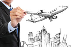 Businessman drawing business travel concept. Portrait of businessman drawing business travel concept Royalty Free Stock Photos