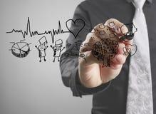 Businessman  drawing chart heartbeat Stock Image