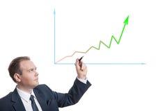 Businessman drawing chart Royalty Free Stock Photos