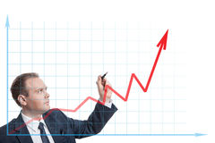 Businessman drawing chart on a white Stock Photography