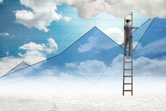 The businessman drawing charts in the sky Royalty Free Stock Image