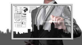 Businessman drawing city line, business concept Royalty Free Stock Images
