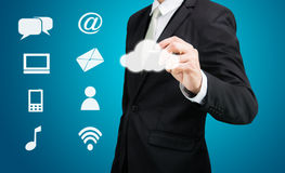 Businessman drawing cloud computing network technology connectiv Stock Images