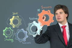Businessman drawing cogs. And gears on gray background Royalty Free Stock Photography