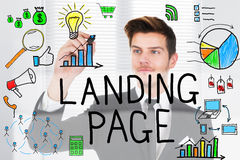 Businessman Drawing The Concept Of Landing Page On Glass. Successful Businessman Drawing The Concept Of Landing Page On Transparent Glass In Office Using Marker stock photos