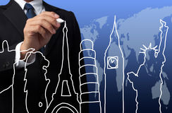Businessman drawing the concept travel Royalty Free Stock Photo