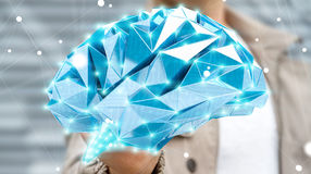 Businessman drawing digital x-ray human brain in his hand 3D ren Stock Photos