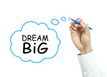 Businessman drawing dream big concept. Businessman is drawing dream big concept with blue marker on transparent board isolated on white background stock images