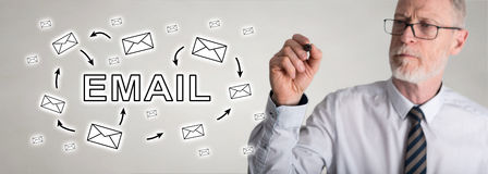Businessman drawing email concept. Email concept drawn by a businessman Stock Photos