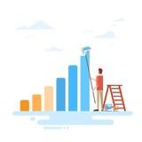 Businessman Drawing Financial Bar Graph Finance Success Concept. Flat Vector Illustration Royalty Free Stock Image