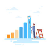 Businessman Drawing Financial Bar Graph Finance Success Concept. Flat Vector Illustration Royalty Free Stock Photography