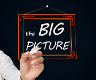 Businessman drawing frame with the big picture text in it. On black background Stock Photo