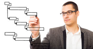 Businessman Drawing A Gantt Chart Stock Photos