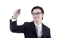 Businessman with drawing gesture Royalty Free Stock Photography