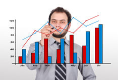 Businessman  drawing graph Royalty Free Stock Photography