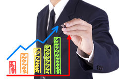 Businessman drawing graph grow. Businessman drawing colorful graph grow with arrow sign royalty free stock images