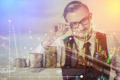 Businessman drawing graphics Stock Photos
