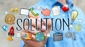 Businessman drawing hand-drawn solution presentation. Businessman on blurred background drawing hand-drawn solution presentation Stock Photos