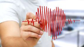Businessman drawing a heart beat sketch Stock Images