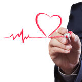 Businessman drawing heart breath line Royalty Free Stock Image