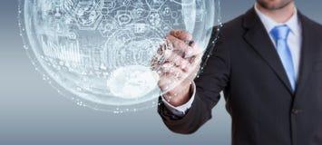 Businessman drawing hologram sphere 3D rendering. Businessman drawing white and blue hologram sphere 3D rendering Stock Photo