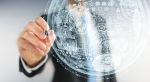 Businessman drawing hologram sphere 3D rendering. Businessman drawing white and blue hologram sphere 3D rendering Stock Images