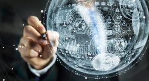 Businessman drawing hologram sphere 3D rendering. Businessman drawing white and blue hologram sphere 3D rendering Stock Image