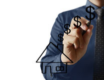 Businessman drawing house Royalty Free Stock Images