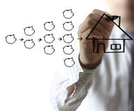 Businessman drawing  house Stock Image