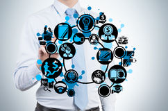 Businessman drawing icon Stock Photography