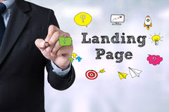 Businessman drawing Landing Page concept Stock Images