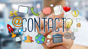 Businessman drawing manuscript contact text Royalty Free Stock Image