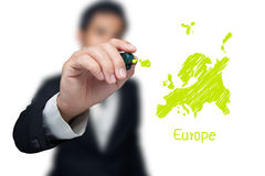 Businessman drawing a map. Businessman drawing a map of continent Europe Stock Photos