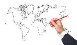 Businessman drawing a map Stock Photo