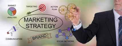 Marketing strategy concept drawn by a businessman Royalty Free Stock Photography