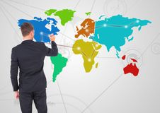 Free Businessman Drawing On Colorful Map With Connector Background Royalty Free Stock Images - 91388829